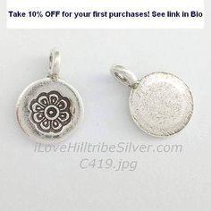 Silver Charm-C419 #circular #Disc #flat #flower #hilltribesilver #ilovehilltribesilver http://ift.tt/2tPbWrh