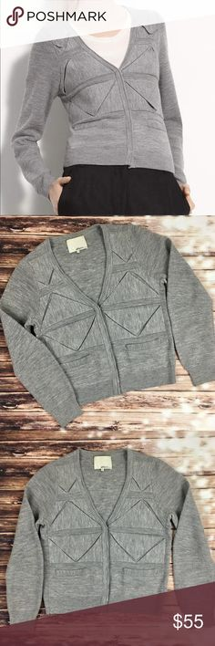 """3.1 Phillip Lim Folded Triangle Cardigan in Grey Angled folds create a cool pattern on a merino wool cardigan with long, horizontally ribbed sleeves. Front hook-and-eye closure. Front pockets. Approx. length from shoulder: 21 3/4"""". Merino wool; dry clean. Imported. 3.1 Phillip Lim Sweaters Cardigans"""