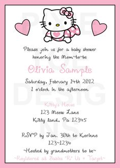 Baby Hello Kitty! Baby Shower Invitations For Boys, Baby Shower Printables, Baby Shower Favors, Baby Shower Themes, Shower Ideas, Hello Kitty Baby Shower, Hello Kitty Birthday, Baby Kitty, Hello Kitty Invitations