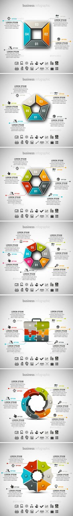 4 in 1 Business Infographics Bundle — Photoshop PSD #puzzle #creative • Available here → https://graphicriver.net/item/4-in-1-business-infographics-bundle/15156834?ref=pxcr