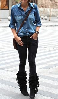 fringe boots cute causal outfit