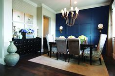 Commanding a Presence: Dark Accent Walls that Make a Statement : Accent Walls Dark Dining Room Dining Room Storage, Dining Room Wall Decor, Dining Room Design, Room Decor, Dining Rooms, Dining Room Paneling, Dining Area, Art Decor, Dining Table