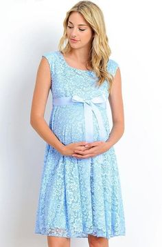 Hello MIZ Maternity Floral Lace Baby Shower Party Cocktail Dress With Ribbon Waist Blue Baby Shower Dress, Lace Baby Shower, Baby Dress, Maternity Fashion Dresses, Maternity Dresses For Baby Shower, Vestidos Para Baby Shower, Pregnancy Wardrobe, Maternity Wardrobe, Pregnancy Bump