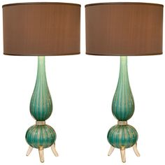 1stdibs - Gorgeous Pair of Murano Sea Green Glass Lamps explore items from 1,700  global dealers at 1stdibs.com