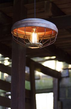 Vintage Chicken Feeder Pendant Light—One of a kind Juxtaposed Industrial Lighting with Edison bulb—Copper Glow