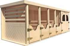 """Wooden Horse Barn with 4 Stables and Tack Room. Wood Barn with 4 Stall and Tack Room - 6 saddle and 12 bridle racks, 6 blanket holders. Barn ships fully assembled. Handcrafted Quality, all Wood constructed. Comes Fully Assembled - Dimensions 32"""" x 11.5"""" x 11"""". Barn for your Breyer Horses, Fits most Traditional size breyers. Barns are stackable."""