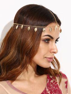 Accesorio para el pelo de cadena con hoja-(Sheinside)
