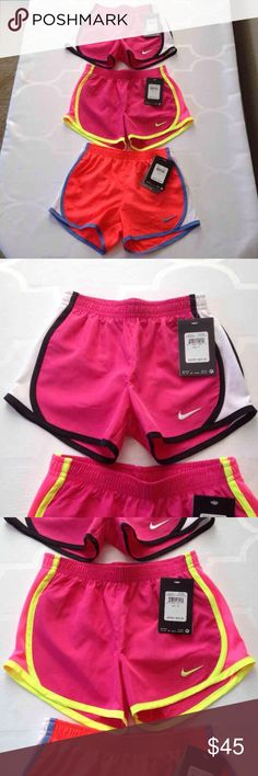 Nike Dri Fit Girls Shorts Size 5, 6, 6X Pink/Black, size 5  Pink/Neon, size 6X Orange/Blue, Size 6 Has inner underwear or lining  Most comfortable shorts  Can wear for running or etc  NWT  Price for all 3  Can sell separately  Can bundle ship  Check out my kids listings Nike Bottoms Shorts