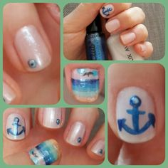 Anchor design summer nail art by YaşamDemir