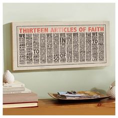 love this version of the articles of faith! must figure out how to make (too expensive to buy!)