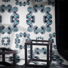 A contemporary geometric designer wallpaper design, born out of Dave Towers' recent experiments with large format graffiti marker pens. Graffiti Wallpaper, Geometric Wallpaper, Marker Pen, Elle Decor, Designer Wallpaper, Towers, Wallpapers, Pure Products, Contemporary