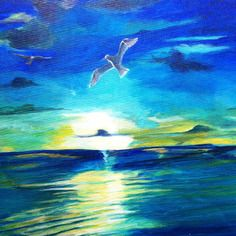 """Paysage peinture acrylique """"soleil de mer 2""""  En vente sur : http://www.alittlemarket.com/boutique/lumeline-172298.html"""