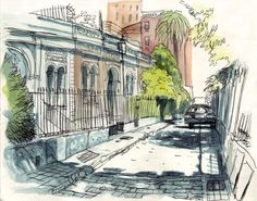 4th International Urban Sketching Symposium, Barcelona, July 2013 Sketches Of Love, Drawing Sketches, Sketching, Watercolor Sketch, Watercolor Landscape, Moleskine, Ink In Water, Ink Pen Drawings, City Landscape