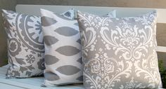 Decorative Pillows, Trio of Suzani and Ikat Decorative Throw Pillow Covers with Three 20 x 20 Inch Pillow Covers in Storm Gray. $50.00, via Etsy.