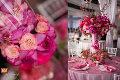 Bright Pink Wedding Table and Centerpiece ~ Photo by Jen O'Sullivan Photography www.jenosullivan.com ~ brought to you by ESI Planning: stress-free wedding planning www.esiplanning.com