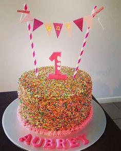 1st birthday sprinkles cake