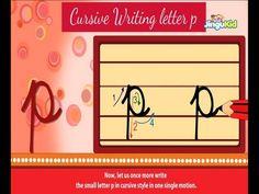 Cursive Letter Writing for Children - small letter p - Kids Educational Videos