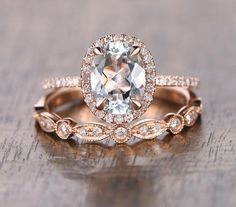 Oval Aquamarine Engagement Ring Sets Pave Diamond Wedding 14K Rose Gold 6x8mm Art Deco - Lord of Gem Rings - 1