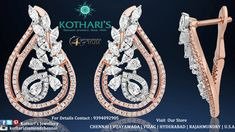 ALL NEW DESIGN OF ROSE GOLD - By Kothari's Chennai Diamond Tops, Best Diamond, Pearl Diamond, Diamond Necklaces, Diamond Jewellery, Diamond Earrings, India Style, India Jewelry, Small Earrings