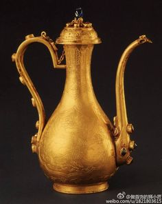 Antique: Traditional Chinese gold wine vessel