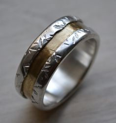 mens wedding band - fine silver and brass wedding ring