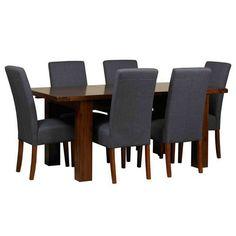 Debenhams Acacia finished 'Elba' small extending dining table and set of 4 grey 'Parsons' chairs- at Debenhams.com