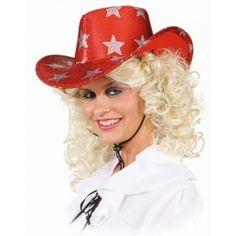 Rode glitter cowboyhoed met sterren. Deze rode cowboyhoed is geschikt voor volwassenen. Materiaal: 60% polyester, 40% polychloride.
