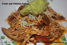 """I'm late on posting this, but it's another one to add to my 2013 cooking challenge. The one was entitled, """"Guilty Pleasures"""". Cooking Challenge, Kitchen Canisters, Chicken Fajitas, Pulled Pork, Crock Pot, Ethnic Recipes, Food, Shredded Pork, Kitchen Jars"""