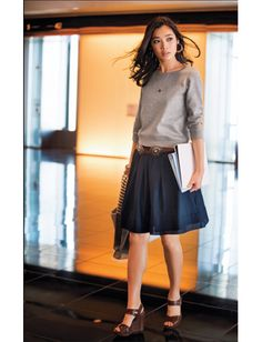 gray tops & navy skirt