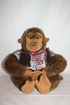 Vintage Hosung Monkey  plush hand puppet with mouth squeaker Western Clothes #Hosung