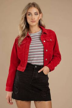 Cute Lazy Outfits, Casual Dress Outfits, Summer Dress Outfits, Winter Fashion Outfits, Classy Outfits, Spring Outfits, Red Corduroy Jacket, Fiesta Outfit, Jean Jacket Outfits