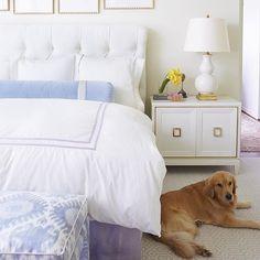 bedroom pretty bedroom {and a cute pup! Bedroom Decor DIY mid-century modern interior (present day) Pretty Bedroom, White Bedroom, Master Bedroom, Bedroom Decor, Periwinkle Bedroom, Shabby Bedroom, Gold Bedroom, Serene Bedroom, Purple Bedding