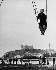 Swinging by Ladislav Csáder. Black White Photos, Black And White Photography, Vintage Pictures, Old Pictures, 50 Shades Of Grey, Bratislava, Monochrome, Color Pop, Eyes