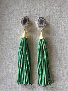 Beaded Tassel Earrings #etsy