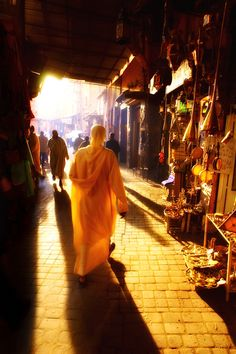 Afternoon light in The Medina of Marrakesh, Morocco.