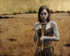 Brad Kunkle, Her Own Field Oil and gold leaf on linen.