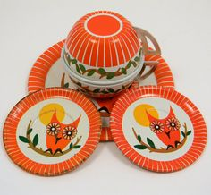 vintage owl tea set