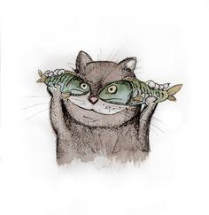 2015 Watercolor, liner, Photoshop Cat, Кот, А мне летать охота