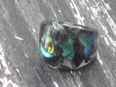 Size 9 Abalone Puau Shell Bubble Resin Ring 038 by MonkeyNavigated