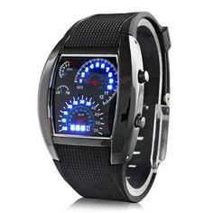 WLM New flash LED Watch voiture de sport de compteur à cadran noir pour hommes Montre numérique en vente bande noire
