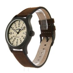 a130d66c4e41 Timex Expedition Men s T49963 Quartz Watch with Beige Dial Analogue Display  and Brown Leather Strap  Timex  Amazon.co.uk  Watches