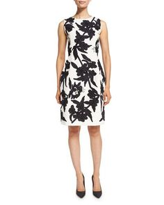 OSCAR DE LA RENTA BEADED FAILLE SHEATH DRESS, WHITE/NAVY. #oscardelarenta #cloth #