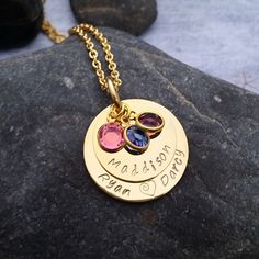 Hand Stamped Mothers Necklace Two Stacked Eternity Discs with Swarovski Crystals - www.sewtree.com