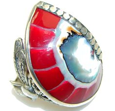 $45.25 Lovely!! Red Ocean Shell Sterling Silver Ring s. 7 1/4 at www.SilverRushStyle.com #ring #handmade #jewelry #silver #shell