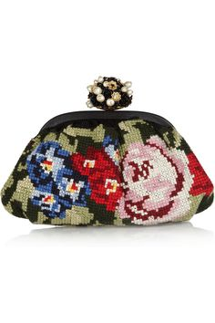 Dolce & Gabbana | Miss Dea floral tapestry and leather clutch | NET-A-PORTER.COM