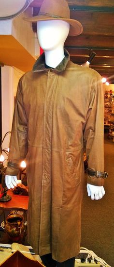 Men's full length leather trench coat ..sz L at: Sunnymoonboutique.com 27 Monmouth st Red Bank NJ 732.915.8949