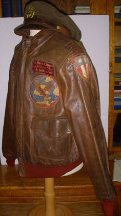 WWII CBI Patched Out A-2 Jacket Grouping - 22nd BS 341st BG 14th AF Bombardier. Leather Jacket Patches, Painted Leather Jacket, Leather Flight Jacket, Nose Art, Ww2 Bomber Jacket, Bomber Jackets, Vintage Military Jacket, Military Jackets, Pilot Uniform