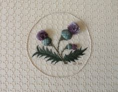 """""""A Thistle Treasure"""" Heather Macumber ( Stumpwork and Pulled thread Em-ry)"""