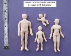 Download tutorial 3/4 inch scale cloth doll pattern 1:16 scale. Tutorial basic…