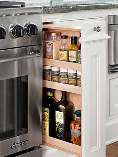 Pullout drawers are a clever way to keep countertops clear and keep frequently used items close at hand. This solution is perfect for adding spice storage next to the cooktop, keeping recycling and trash hidden, or for keeping pots and pans better organized.